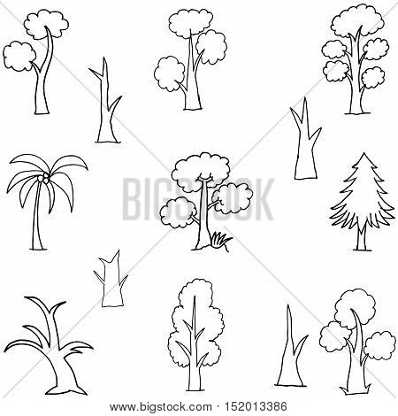 Vector art of tree hand draw doodles collection