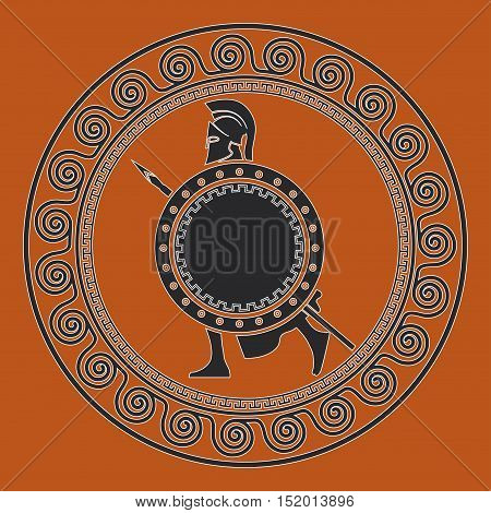 On the image presented Symbol with the Greek soldier. Silhouette of the Spartan soldier