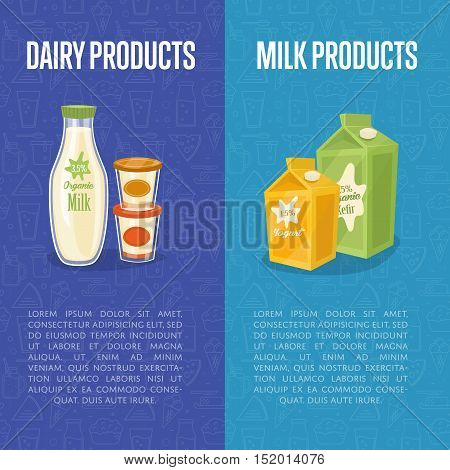 Dairy products vertical flyers with different milk composition isolated on blue background, vector illustrations. Nutritious and healthy products. Organic farmers food. Organic food and dairy product concept. Milk product icon. Cartoon dairy product. Dair
