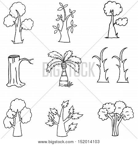 Doodle of nature tree hand draw vector illustration