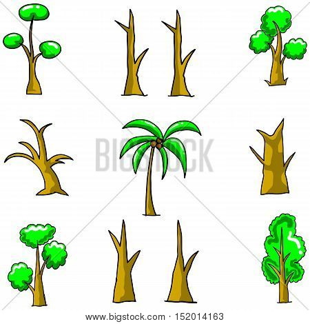 Simple tree set on doodles vector art illustration