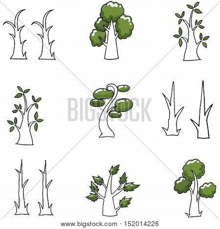 Doodle of simple tree vector art illustration