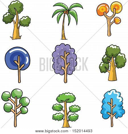Unique tree set of doodles vector art illustration