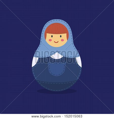 Cute Russian doll with blue hood and jumpsuit jeans denim costume on blue background.