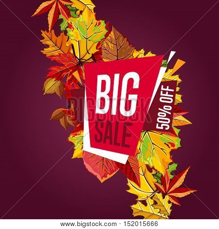 Autumn sale design template, vector illustration. Big sale, discount template banner with leaves on maroon background. Autumn sale vector banner. Promo autumn offer. Autumn sale sticker. Autumn discount sticker. Discount tag. Autumn special offer banner.