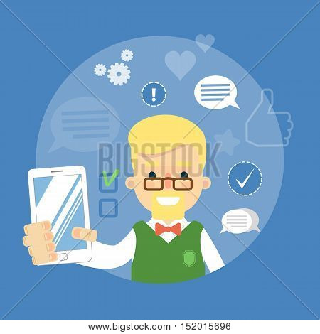 Shopping advertising in social media. Online sale technology. Seller with gadget. Social media network people. Cartoon seller vector. Online shopping or online marketing concept. Ecommerce. Online seller. Online shopping flat vector. Sale. Seller icon.