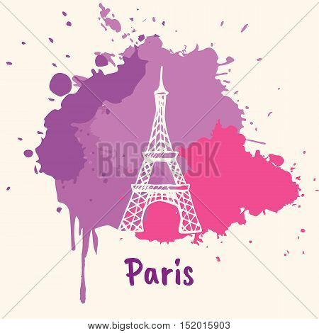 Bright impressions in Paris. Eiffel tower doodle sketched white on pink and violet paint spot with splashes vector illustration. Journey in Europe. Emotive travel concept with architectural attraction. France art. Colorful of Paris. Concept of Paris.