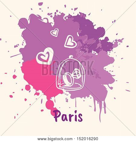 Bright impressions in Paris. Wedding ring and hearts doodle sketched white on violet and pink paint spot with splashes vector illustration. Journey in Europe. Emotive travel concept with romantic gift. France art. Colorful of Paris.
