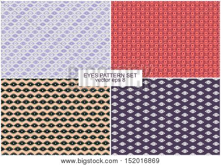 Set of 4 backgrounds different colors Eyes Pattern