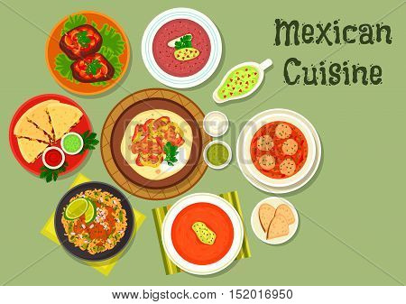Mexican cuisine tortilla with beef fajita icon served with meatball soup, grilled cheese tortilla, tomato soup with chilli, bean soup with salsa sauce, beef steak, beef tongue stew with rice