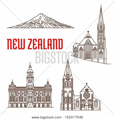 Travel landmarks of New Zealand linear icon with ChristChurch Cathedral, presbyterian Knox Church, Dunedin Town Hall, Mount Taranaki. Travel guide, vacation planning, world heritage design