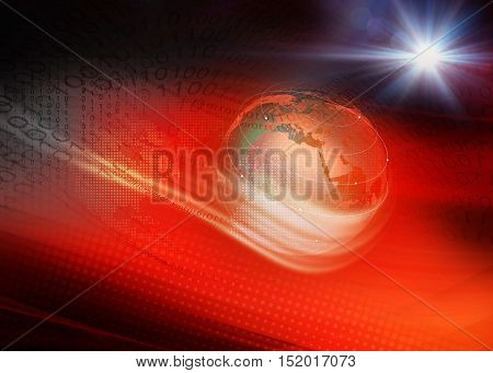 Red Theme Digital World Technology Background Waving Lines Passing Through Digital Space Anround the Earth Globe.