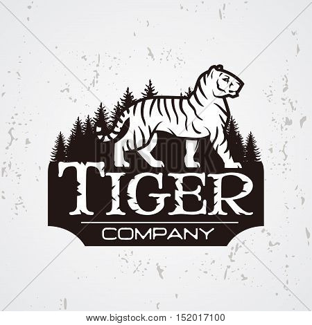 Bengal Tiger in forest logo vector. Mascot shirt design template. Shop or product illustration. Expedition insignia, Sport team logotype on light background