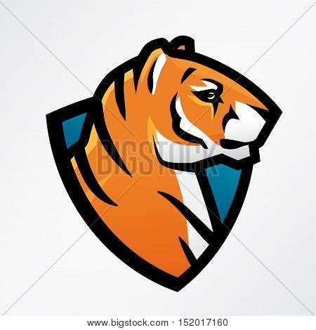 Tiger shield sport mascot template. Football or baseball patch design. College league insignia, High school team vector.