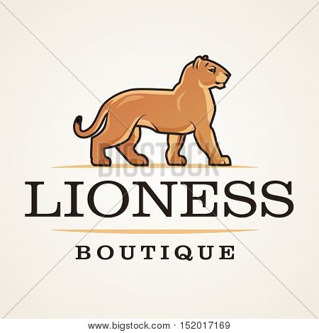 Lioness logo vector. Lion design template. Shop or boutique illustration. Big cat insignia, Cougar logotype on light background