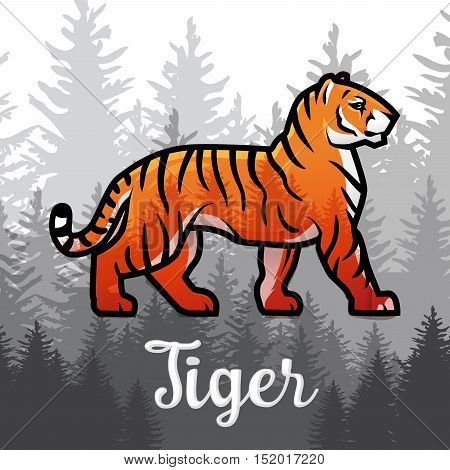 Double exposure Bengal Tiger in forest poster design. vector illustration on foggy background