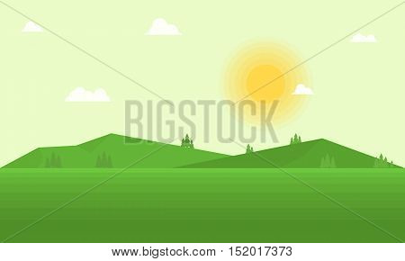 Vector flat field and mountain landscape illustration