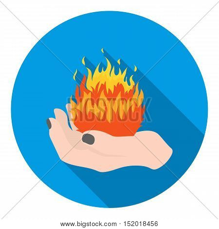 Fire spell icon in flat style isolated on white background. Black and white magic symbol vector illustration.