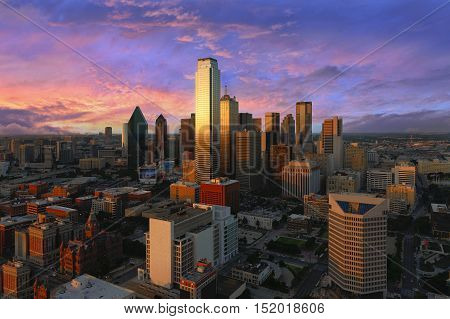 Dallas City Skyline at dusk sunset. Dallas Texas downtown business center. Commercial zone in big city. Dallas City view from Reunion Tower.