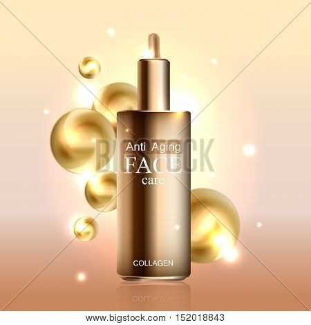 Anti age cream for face skin care with collagen serum. Cosmetic background with bottle. Vector illustration EPS 10 format