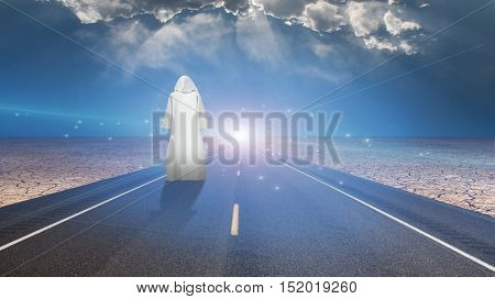 White-robed man on road 3D Render