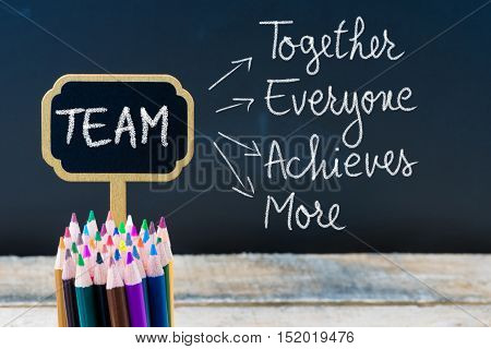 Business Acronym Team Together Everyone Achieves More Written With Chalk On Wooden Mini Blackboard L
