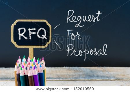 Business Acronym Rfq Request For Proposal Written With Chalk On Wooden Mini Blackboard Labels