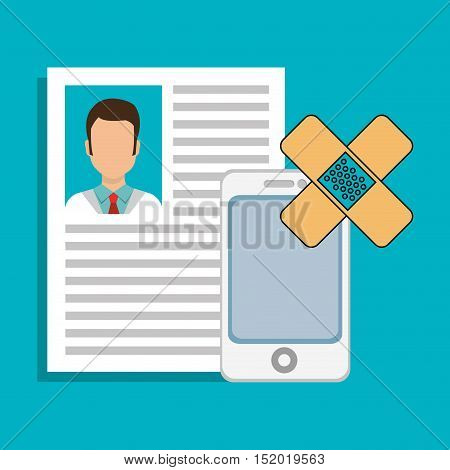 doctor curriculum vitae with smartphone device and band aid over blue background. vector illustration