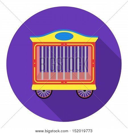 Circus wagon icon in flat style isolated on white background. Circus symbol vector illustration.