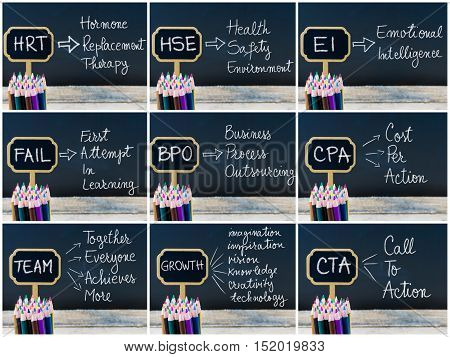 Photo Collage Of Business Acronyms Written With Chalk On Wooden Mini Blackboard Labels