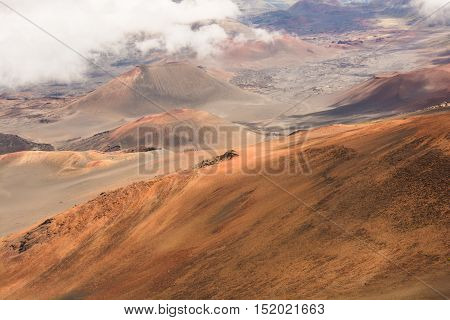 The barren landscape of the crater of Mt Haleakala on the island of Maui in Hawaii.