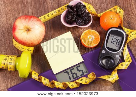 Electronic Bathroom Scale And Glucometer With Result Of Measurement, Healthy Food And Dumbbells, Hea