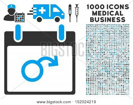 Blue And Gray Impotence Calendar Day vector icon with 1000 medical business pictograms. Set style is flat bicolor symbols, blue and gray colors, white background.