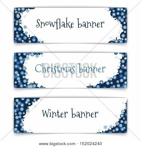 web banner design. Set of horizontal vector web banners in modern style on the theme of winter with snowflakes frame. Abstract web banners for winter season with snowflakes shapes. Vector illustration.