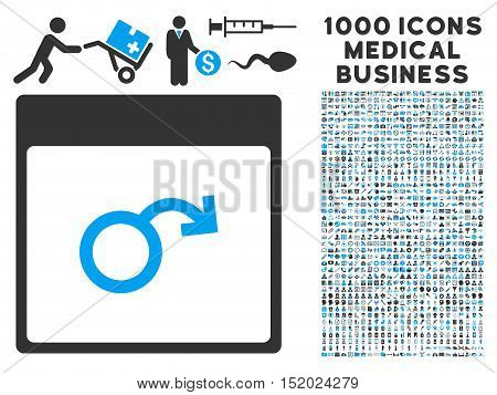 Blue And Gray Impotence Calendar Page vector icon with 1000 medical business pictograms. Set style is flat bicolor symbols, blue and gray colors, white background.