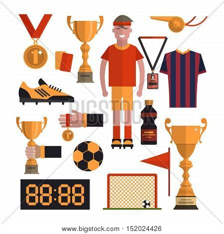 Soccer icons set. Football isolated design elements in flat style.
