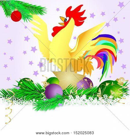 christmas star and cristmas balls with burning cock