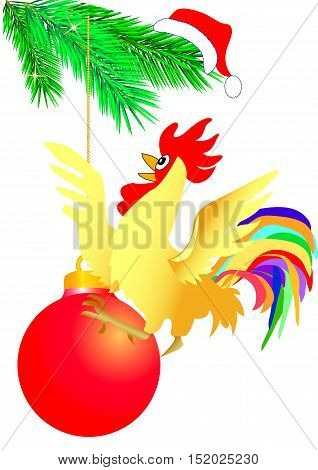 burning cock on one red christmas ball
