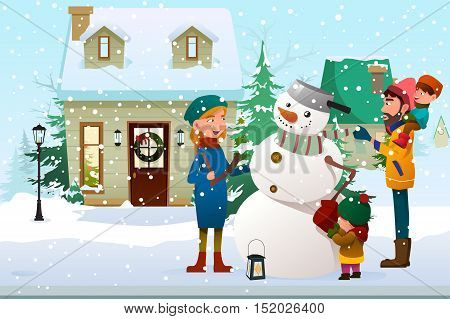 A vector illustration of a Family Building a Snowman Outdoor