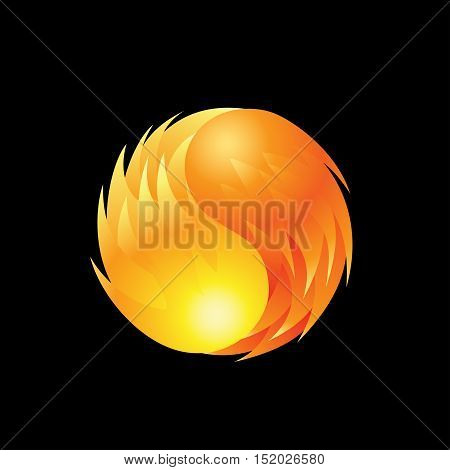 Fireball element icon on a black background. Vector illustration