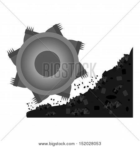 Bucket-wheel excavator icon in monochrome style isolated on white background. Mine symbol vector illustration.