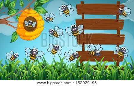 Many bees flying in garden with signs illustration
