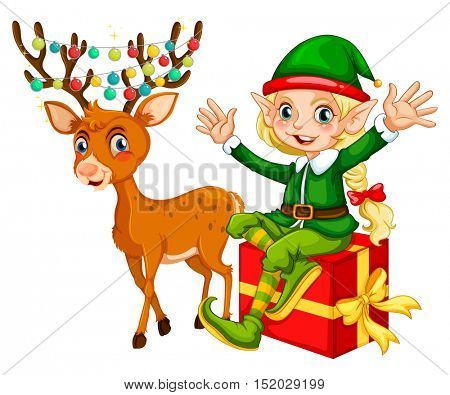 Christmas theme with elf and reindeer illustration