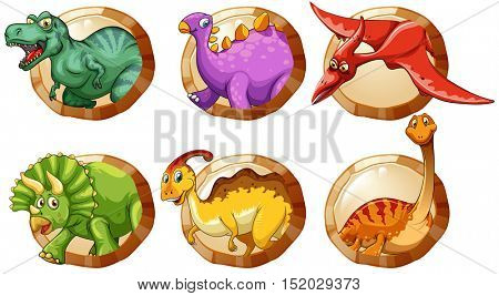 Different types of dinosaurs on round buttons illustration