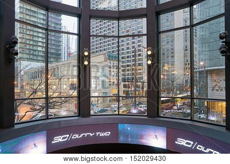 CHICAGO, IL - 01 APRIL, 2016: view from the Under Armour store on Michigan Avenue in Chicago. Under Armour, Inc. is an American sports clothing and accessories company.
