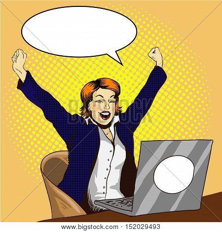 Woman work on laptop retro comic pop art vector illustration. Businesswoman in office. Job is done concept.