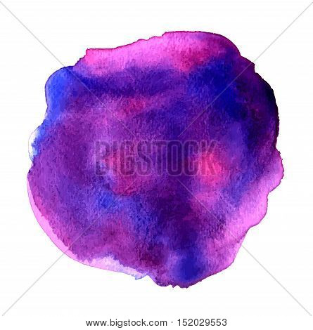 Vector watercolor purple blob on white background. Abstract artistic texture with place for text