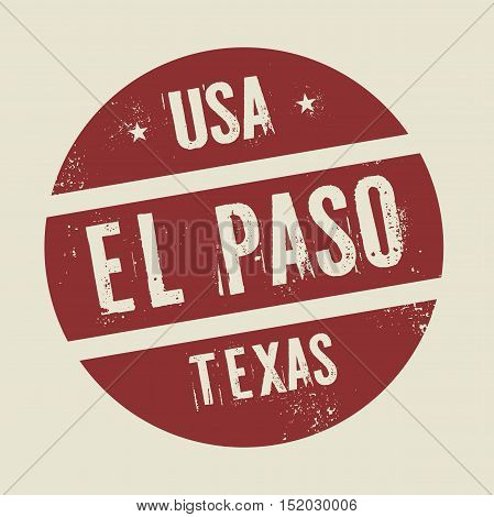 Grunge vintage round stamp with text El Paso Texas vector illustration