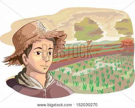 Illustration of a Young Farmer in a Straw Hat Looking at Rows of Recently Planted Rice