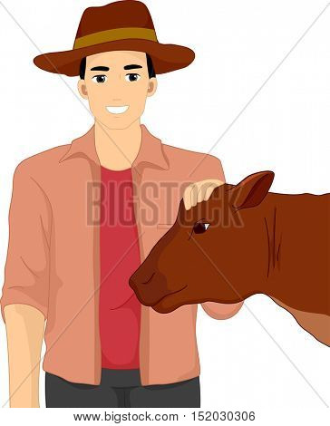 Illustration of a Farmer in a Cowboy Hat Petting the Head of a Docile Show Cow